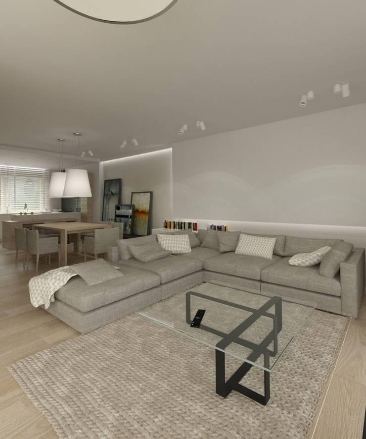 Minimalistyczny Dom Warszawa: styl , w kategorii Salon zaprojektowany przez The Vibe,