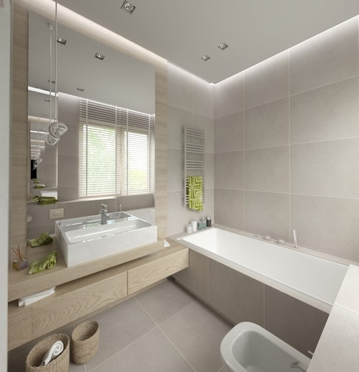 Minimalistyczny Dom Warszawa: styl , w kategorii Łazienka zaprojektowany przez The Vibe,