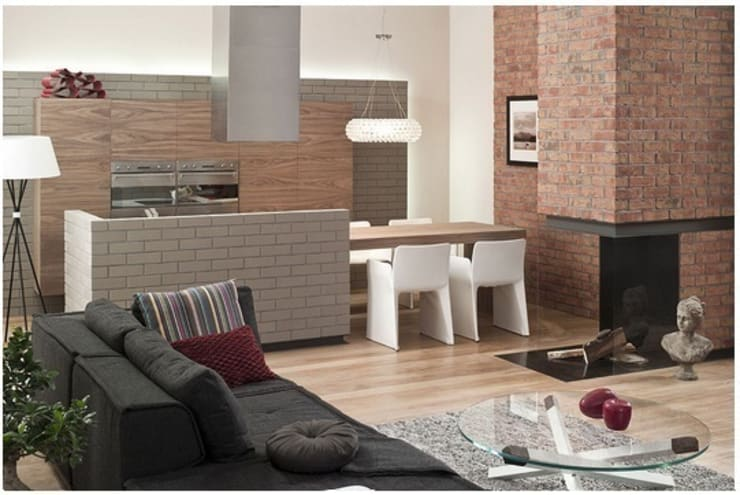 Studio flat, kitchen, living room with fire place :  Living room by Fourways ML - The Brick Panels