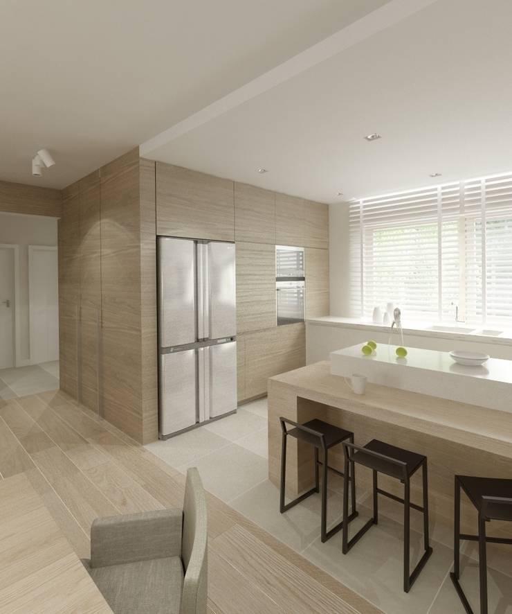 Minimalistyczny Dom Warszawa: styl , w kategorii Kuchnia zaprojektowany przez The Vibe,