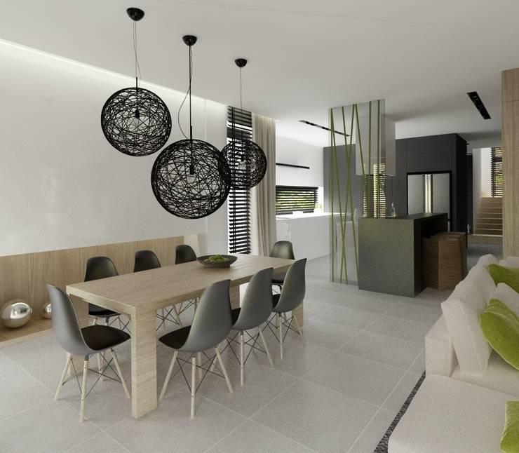 Wnętrza Domu w Warszawie: styl , w kategorii Jadalnia zaprojektowany przez The Vibe,