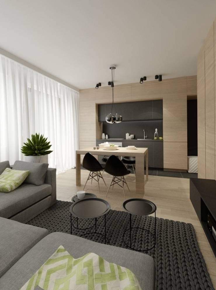 Apartament 60m2 Puławy: styl , w kategorii Jadalnia zaprojektowany przez The Vibe