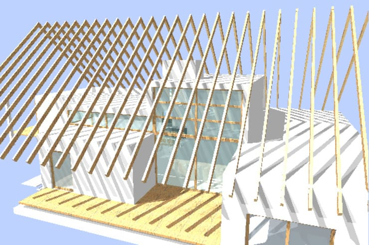 Wohnkuben im großen Scheuneninnenraum:   von w3-architekten Gerhard Lallinger