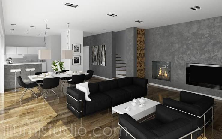 SALON wraz z otwartą JADALNIĄ oraz KUCHNIĄ.: styl , w kategorii Salon zaprojektowany przez ILLUMISTUDIO