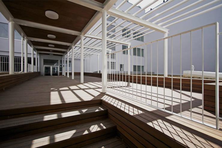 Il percorso coperto nella corte interna che collega i due edifici: Giardino in stile in stile Moderno di Studio di Architettura Fabio Nonis