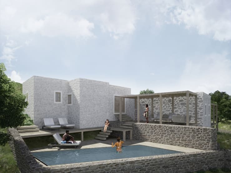 Atelye 70 Planners & Architects – Restorated House 3 - Back View:  tarz Teras