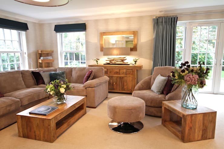 Warm, Chunky Wooden Furniture, Calm Soft Furnishings in Neutral and Blues:  Living room by Design by Deborah Ltd