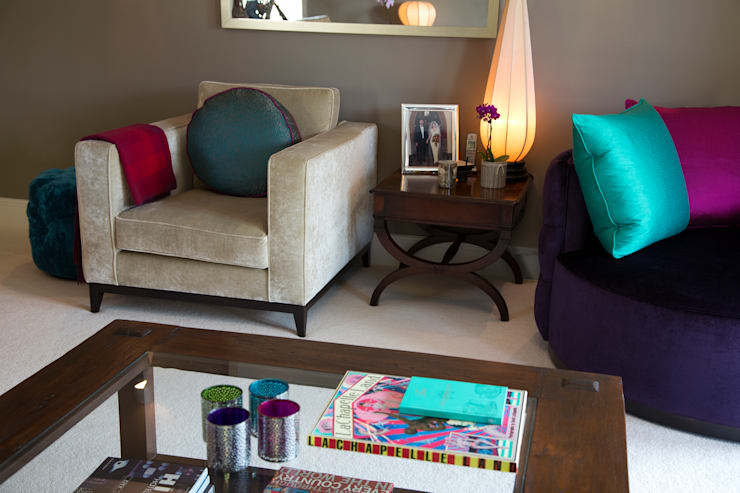 Dark Wood Side Table with Organic Lamp:  Living room by Design by Deborah Ltd