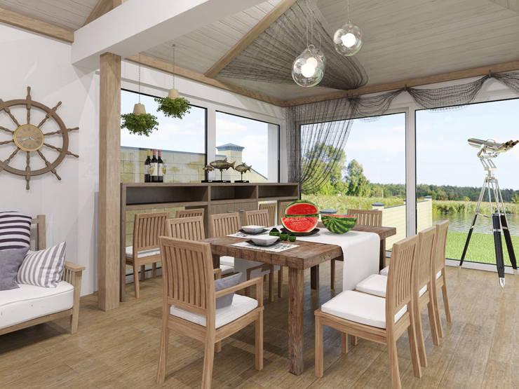 рыбацкий домик: Балкон, веранда и терраса в . Автор – pashchak design