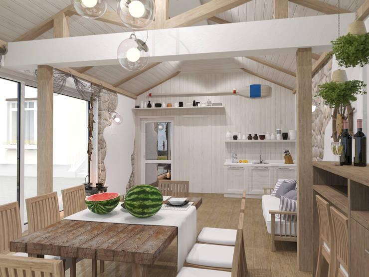 Рыбацкий домик: Стены и пол в . Автор – pashchak design