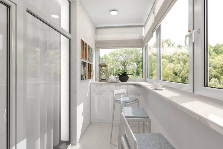 уютный балкончик: Балкон, веранда и терраса в . Автор – pashchak design