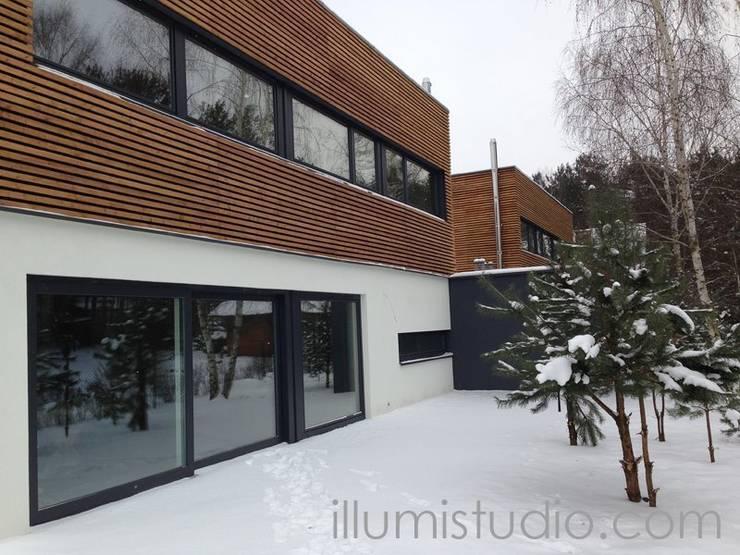 DOMY W ZABUDOWIE BLIŹNIACZEJ: styl , w kategorii Domy zaprojektowany przez ILLUMISTUDIO,Skandynawski