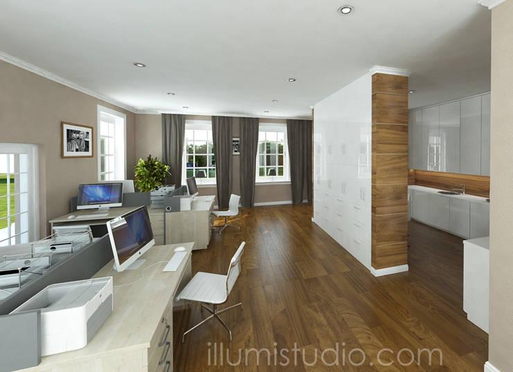 BIURO FIRMY DEVELOPERSKIEJ: styl , w kategorii Domowe biuro i gabinet zaprojektowany przez ILLUMISTUDIO