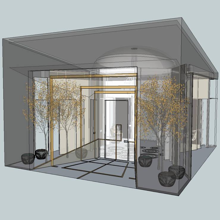 """PADIGLIONE  """"INFINITO"""" PER IL CONTEST DI  OIKOS   """"ARCHITETTURE D'INGRESSO"""": Case in stile in stile Moderno di Teresa Romeo Architetto"""