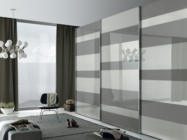 Segmenta sliding door wardrobe, Pictured here in white and grey lacquered glass panels:  Bedroom by Lamco Design LTD