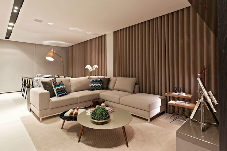Apartamento Vila Grimm: Salas de estar modernas por LEDS Arquitetura