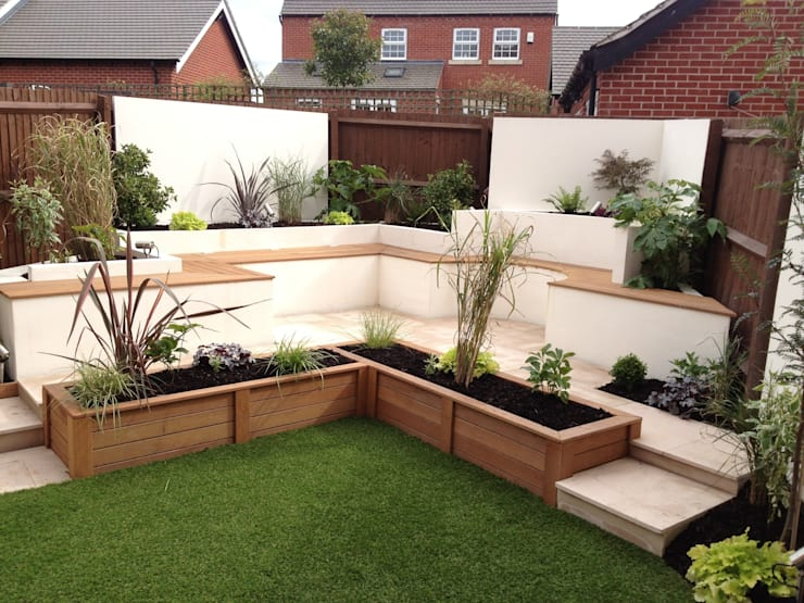Integral bench seating/storage:  Garden by Lush Garden Design