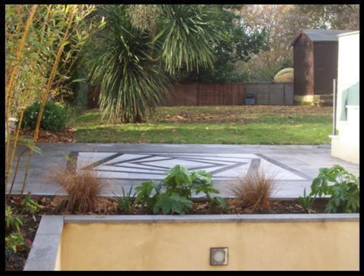 View from lowest level of feature patio:   by Westacott Gardens
