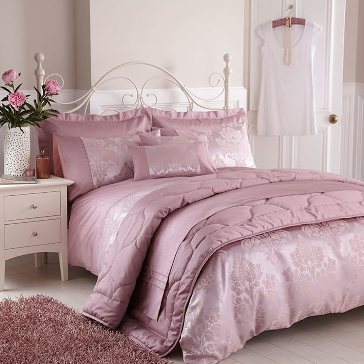 Charlotte Thomas Anastasia Jacquard Collection in Dark Pink:  Bedroom by We Love Linen
