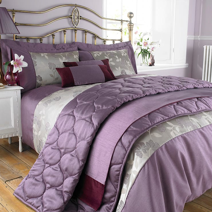 Charlotte Thomas Francesca Jacquard Collection in Plum:  Bedroom by We Love Linen