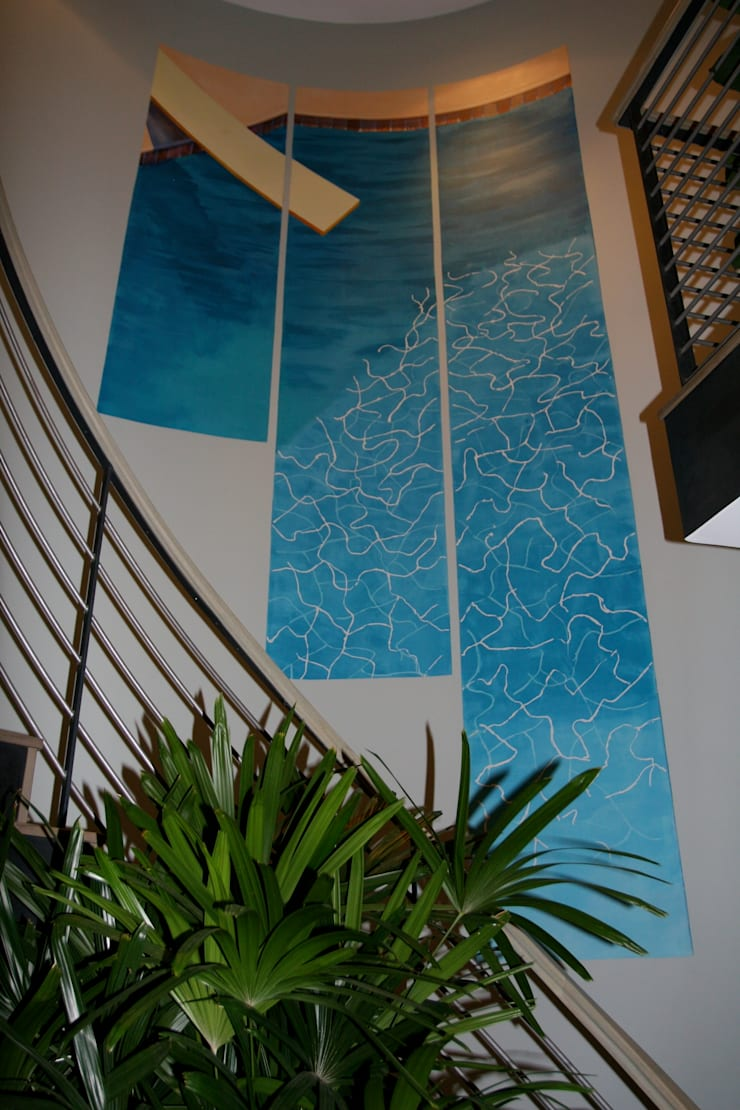 Los Angeles house - Stairway painting:  Artwork by Martin Hall Design