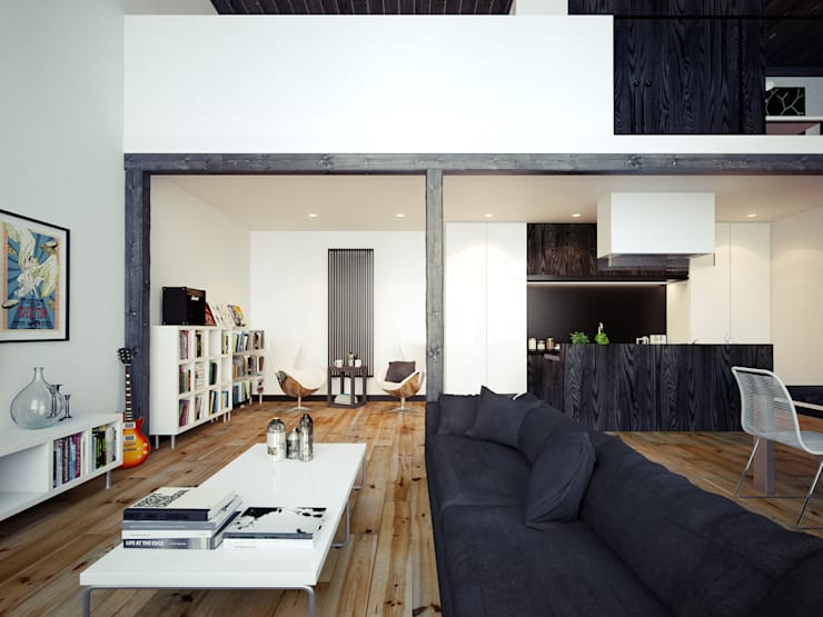 Living Area - A Beautiful Apartment in London by The Wood Galleries:  Walls by The Wood Galleries