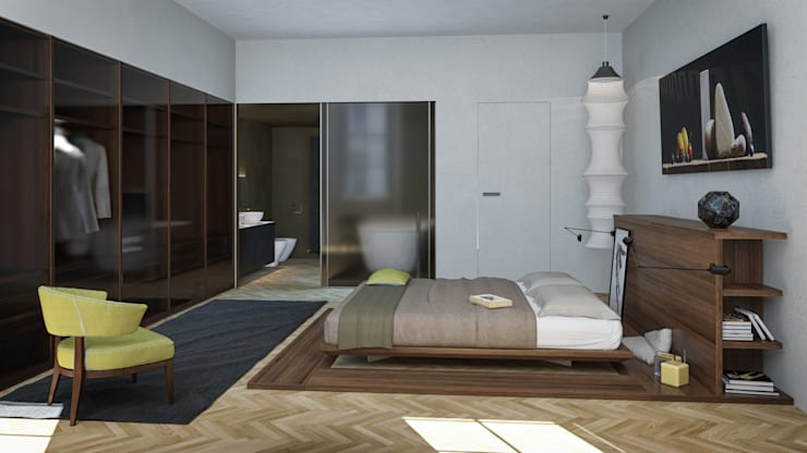 Seamless Parquet Flooring by The Wood Galleries:  Bedroom by The Wood Galleries