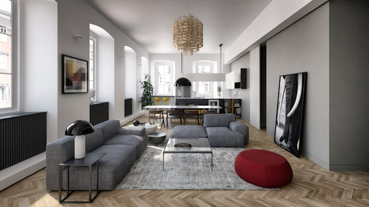 Seamless Parquet Flooring by The Wood Galleries:  Living room by The Wood Galleries