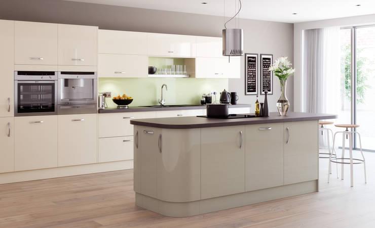 Mitre Ivory and Nutmeg Gloss Kitchen:  Kitchen by Sigma 3 Kitchens