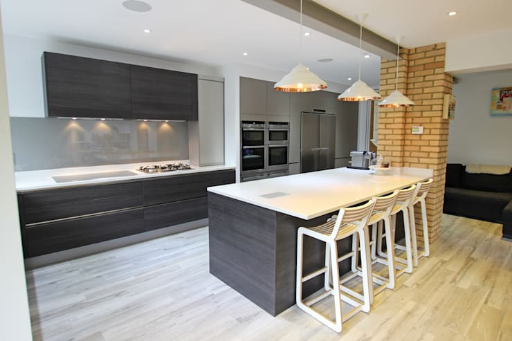 Modern grey kitchen extension:  Kitchen by LWK Kitchens