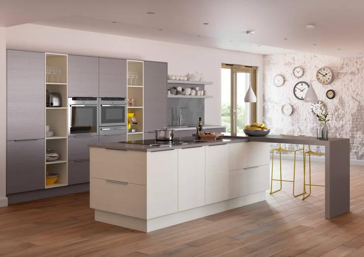 Roxbury Mussel and Basalt Grained Matt Kitchen:  Kitchen by Sigma 3 Kitchens