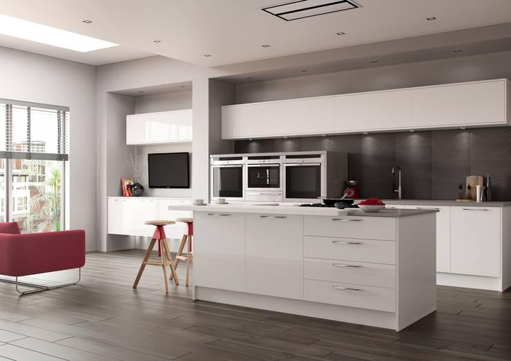 Luxor White High Gloss:  Kitchen by Sigma 3 Kitchens