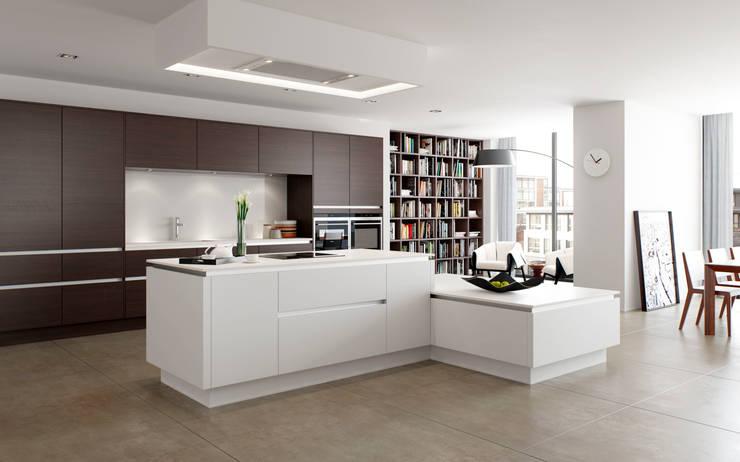 Sierra Truffle Avola with Roxbury Matt White Island:  Kitchen by Sigma 3 Kitchens