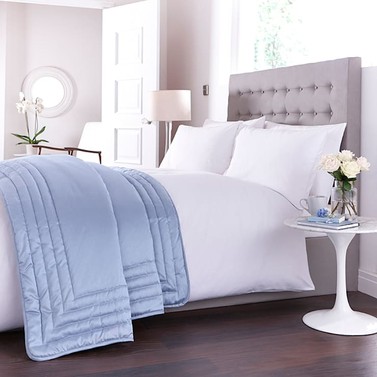 Charlotte Thomas Antonia Bed Throw in Duck Egg Blue:  Bedroom by We Love Linen