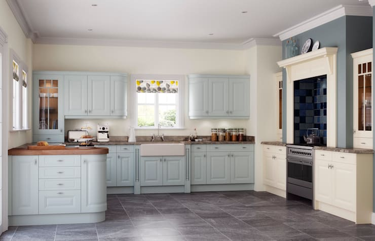 Clifton Powder Blue and Ivory Painted:  Kitchen by Sigma 3 Kitchens