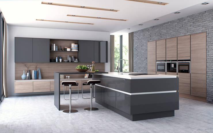 Nixon Graphite Gloss and Sienna Bardolino Oak:  Kitchen by Sigma 3 Kitchens