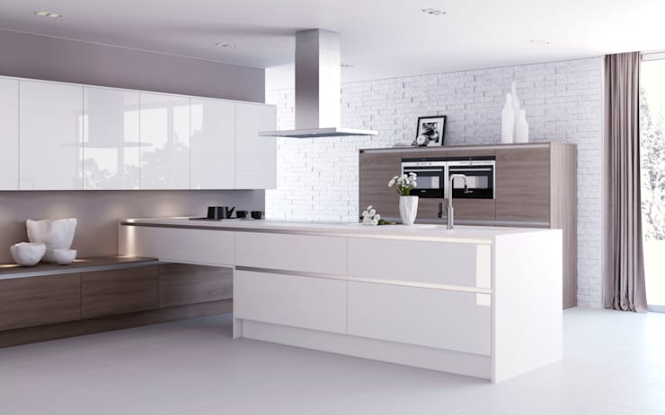 Luxor White High Gloss with Roxbury Smoked Oak:  Kitchen by Sigma 3 Kitchens