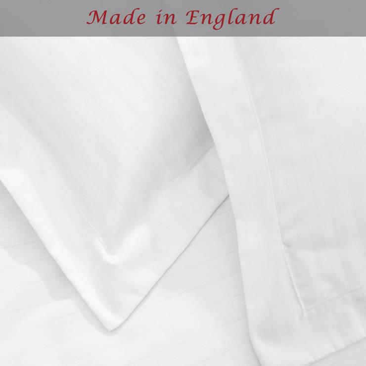 Charlotte Thomas Satin Stripe Oxford Pillowcase in White:  Bedroom by We Love Linen