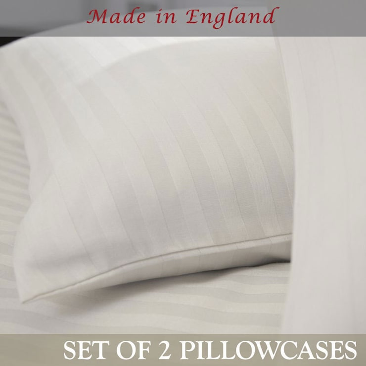 Charlotte Thomas Pair of Satin Stripe Housewife Pillowcases in White:  Bedroom by We Love Linen