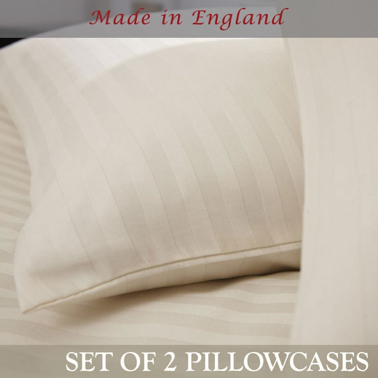 Charlotte Thomas Pair of Satin Stripe Housewife Pillowcases in Ivory:  Bedroom by We Love Linen