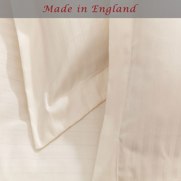 Charlotte Thomas Satin Stripe Oxford Pillowcase in Ivory:  Bedroom by We Love Linen
