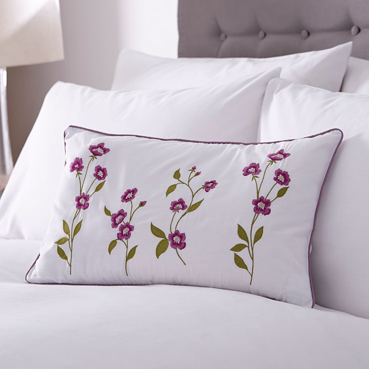 Charlotte Thomas Arabella Cushion Cover in Cerise Pink & Olive Green:  Bedroom by We Love Linen