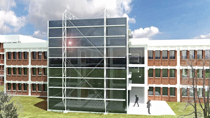 Entrada principal: Edificios de oficinas de estilo  de atelier Victor Salme