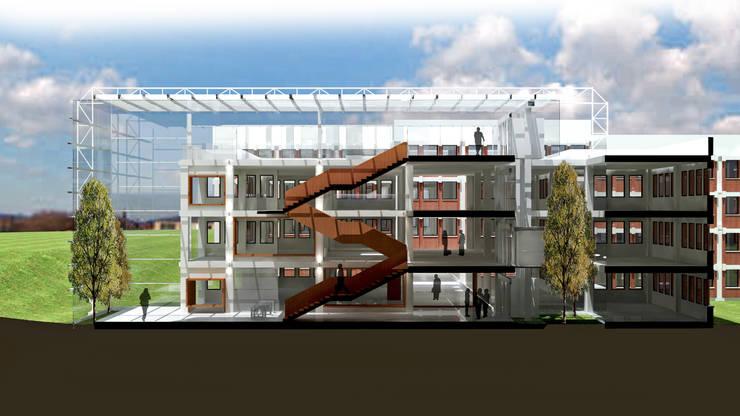 Sección interior atrio: Edificios de oficinas de estilo  de atelier Victor Salme