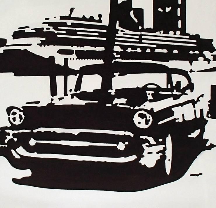 Samochód na tle promu - zbliżenie - nowoczesny obraz od portrety w drewnie pl: styl , w kategorii Sztuka zaprojektowany przez Portrety w drewnie pl
