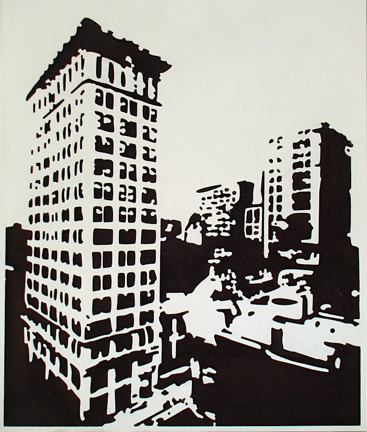Miasto - nowoczesny obraz od portrety w drewnie pl: styl , w kategorii Sztuka zaprojektowany przez Portrety w drewnie pl