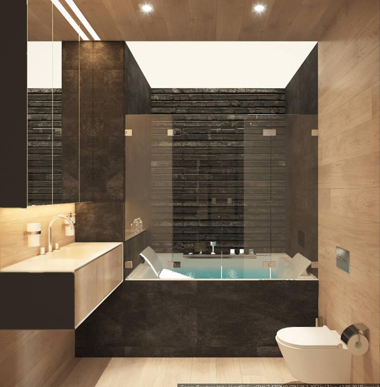 Квартира-студия для холостяка <q>Серый туман</q>: Ванные комнаты в . Автор – ECOForma