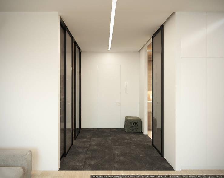 """Квартира-студия для холостяка """"Серый туман"""": Коридор и прихожая в . Автор – ECOForma"""