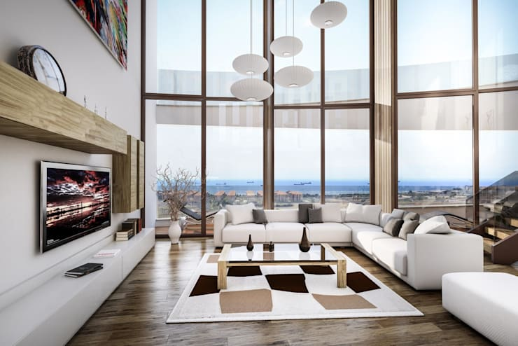 ​3d architectural interior visualisation for Selenium Ataköy project in İstanbul by RedWhite:  Living room by REDWHITE CA