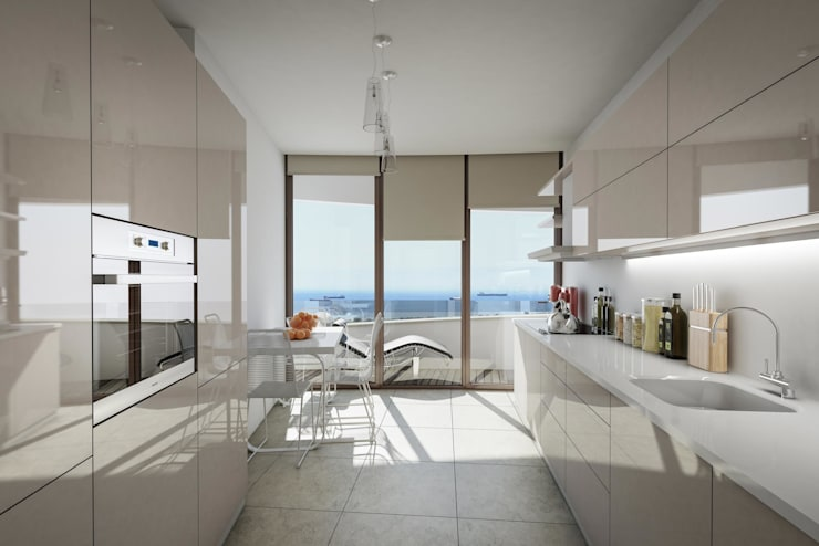 ​3d architectural interior visualisation for Selenium Ataköy project in İstanbul by RedWhite:  Kitchen by REDWHITE CA